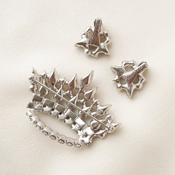 Винтажная брошь и клипсы «Фамильная корона» от B. David редкие антикварные украшения
