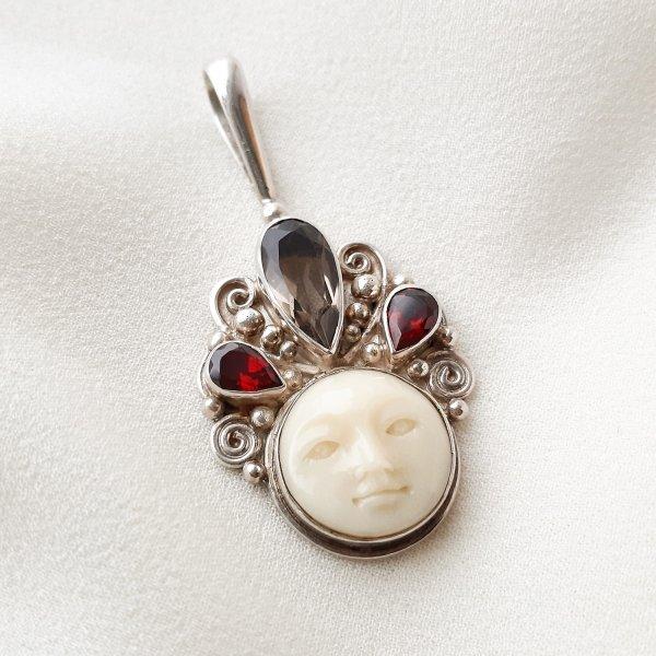 Серебряный кулон с ликом богини от Sajen оригинальный и эксклюзивный подарок девушке