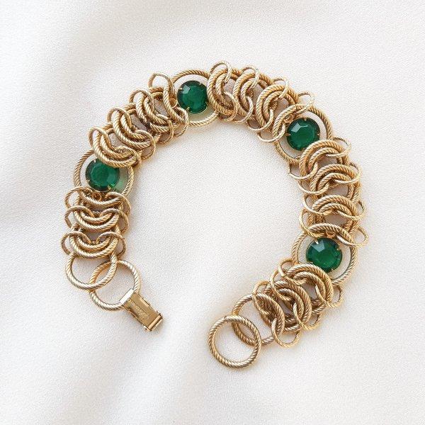 Винтажный браслет «Изумруд» от Goldette для любителей старины и антиквариата