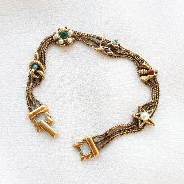 Винтажный браслет «Талисманы» от Goldette для любителей старины и антиквариата