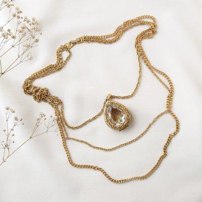 Винтажное мульти - колье с медальоном от Goldette