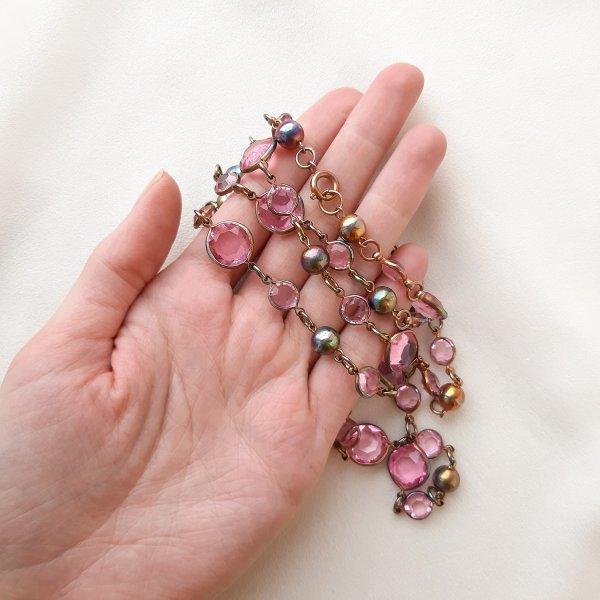 Винтажные бусы «Розовые сны» редкие антикварные украшения