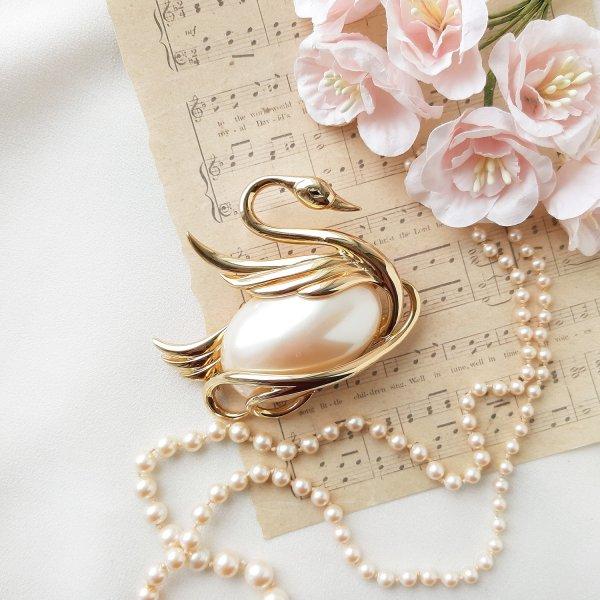 Винтажная брошь «Лебедь» от Lady Remington оригинальный и эксклюзивный подарок девушке