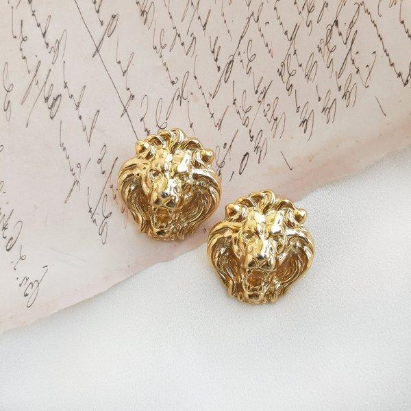 Винтажные дизайнерские серьги «Львы» от Anne Klein Старинные украшения