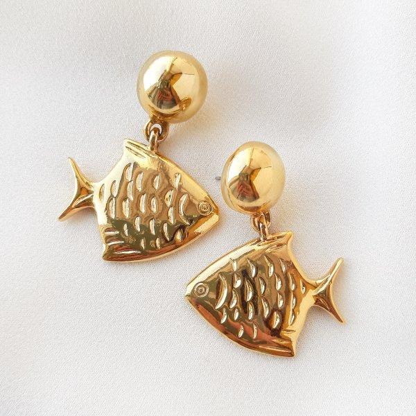 Винтажные дизайнерские серьги «Рыбы» от Anne Klein Купить