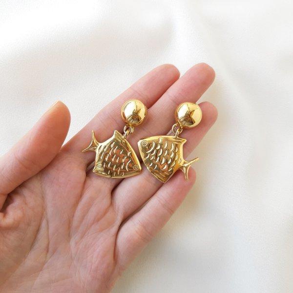 Винтажные дизайнерские серьги «Рыбы» от Anne Klein Старинные украшения