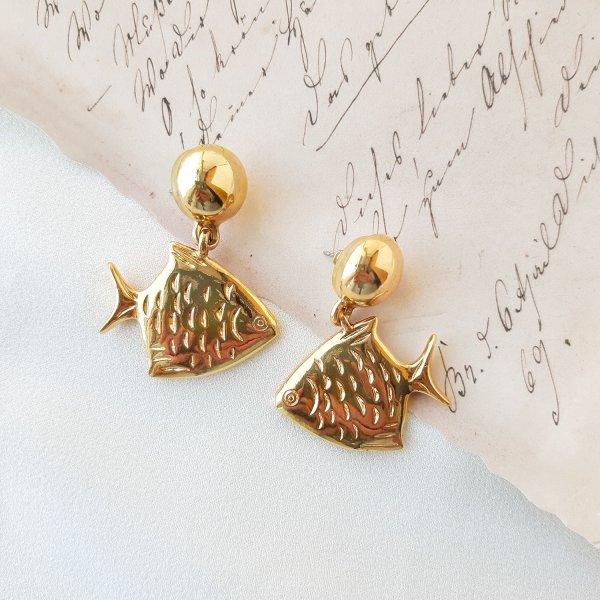 Винтажные дизайнерские серьги «Рыбы» от Anne Klein Купить винтаж