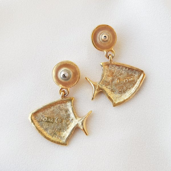 Винтажные дизайнерские серьги «Рыбы» от Anne Klein Купить бижутерию
