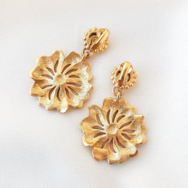 Винтажные клипсы «Цветы» от Anne Klein редкие антикварные украшения