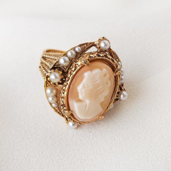 Винтажное коктейльное кольцо с камеей от Florenza редкие антикварные украшения