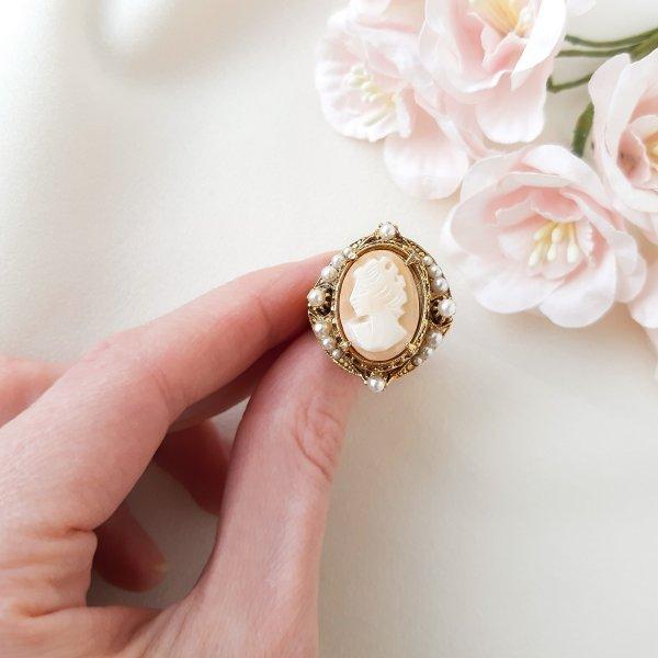 Винтажное коктейльное кольцо с камеей от Florenza оригинальный и эксклюзивный подарок девушке