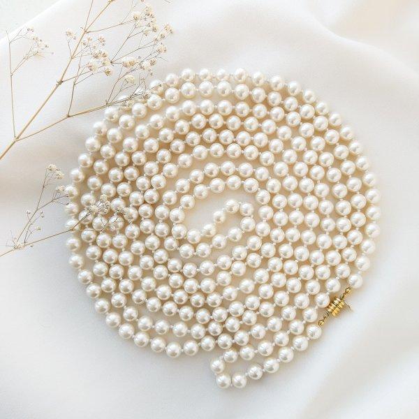 Жемчужные длинные бусы в стиле Шанель от Joan Rivers для самых оригинальных и стильных