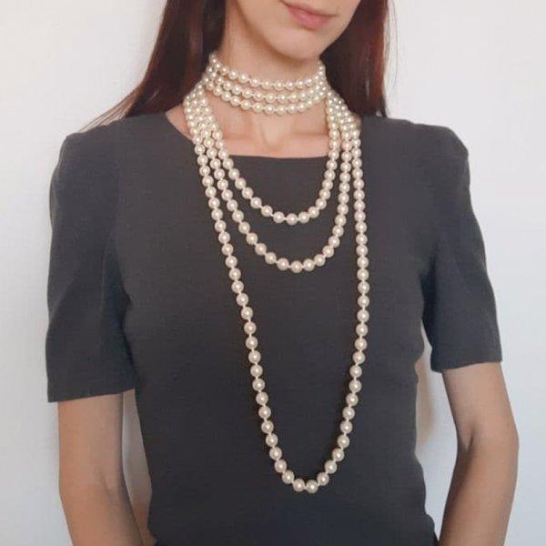 Жемчужные длинные бусы в стиле Шанель от Joan Rivers редкие антикварные украшения