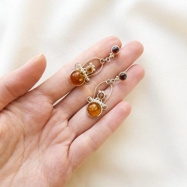 Серебряные серьги с цитринами и гранатами от Sajen оригинальный и эксклюзивный подарок девушке
