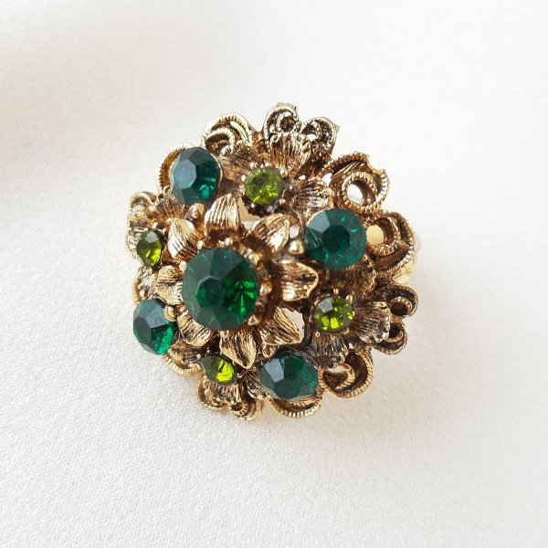 Винтажное коктейльное кольцо «Изумруд» от Art оригинальный и эксклюзивный подарок девушке