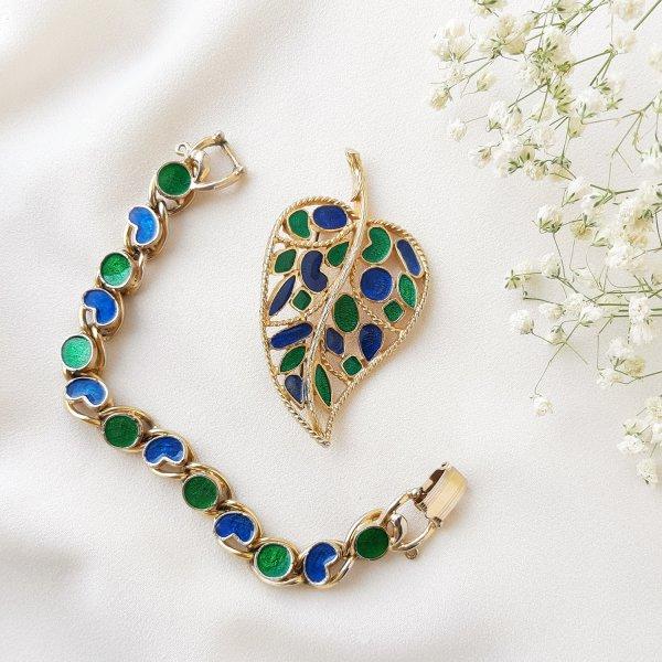 Винтажная брошь и браслетc эмалью от Florenza для самых оригинальных и стильных