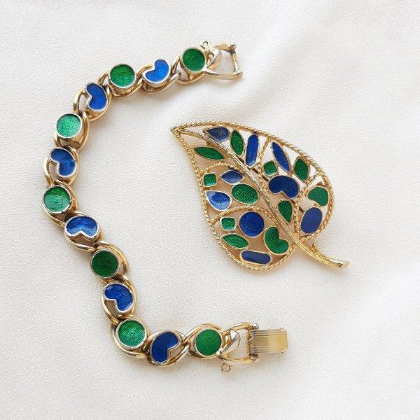Винтажная брошь и браслетc эмалью от Florenza для любителей старины и антиквариата