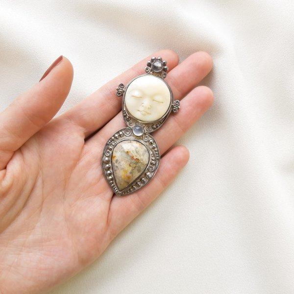 Винтажная брошь-кулон с лунным ликом от Sajen оригинальный и эксклюзивный подарок девушке
