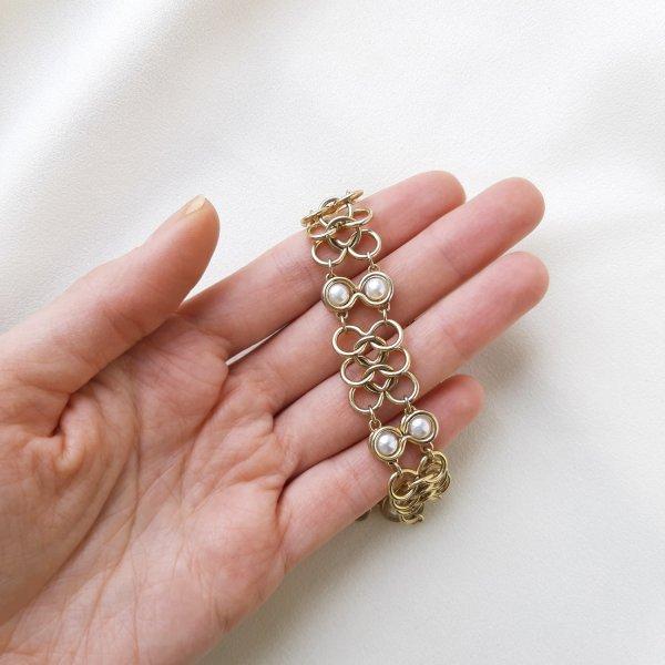 Винтажный браслет «Жемчуг и золото» от Goldette оригинальный и эксклюзивный подарок девушке