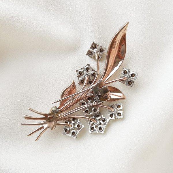 Антикварная брошь-зажим дресс-клип «Цветок» от Trifari редкие антикварные украшения