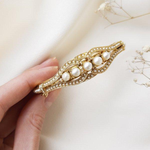 Винтажный браслет - клампер «Жемчужные истории» от Art Купить винтаж