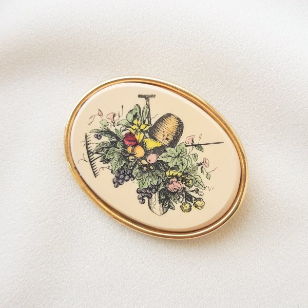 Винтажная брошь «Любимый сад» от Barlow Купить винтаж