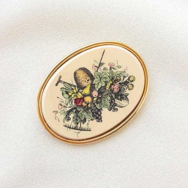 Винтажная брошь «Любимый сад» от Barlow Купить антиквариат