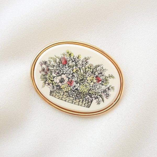 Винтажная брошь «Цветочная корзина» от Barlow Старинные украшения