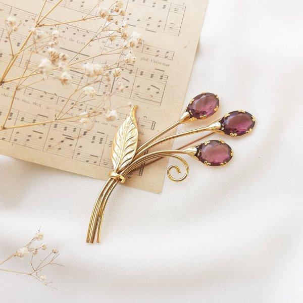 Антикварная серебряная брошь «Букетик» от Coro Купить
