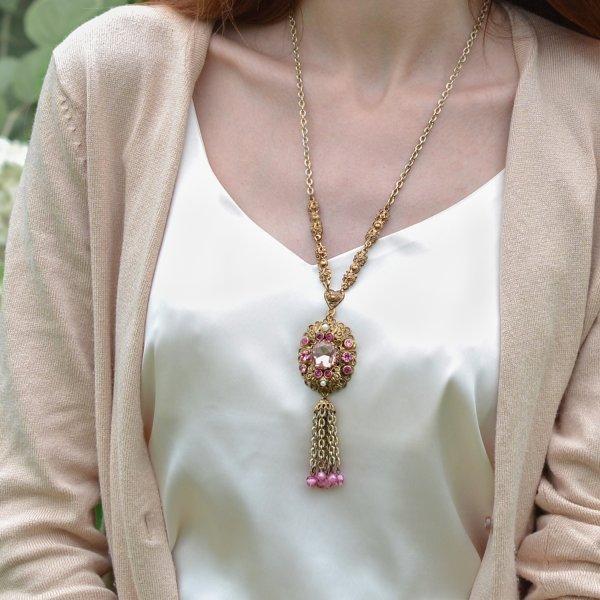 Винтажный кулон «Королевский розовый» от West Germany Старинные украшения