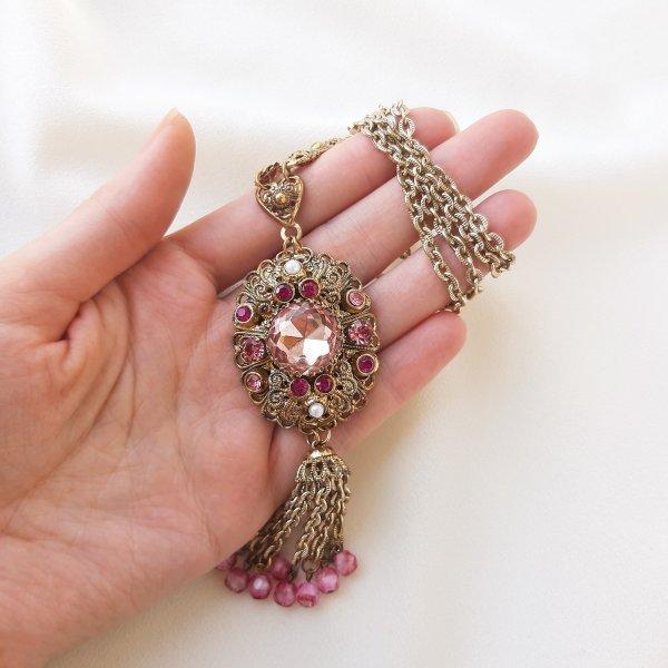 Винтажный кулон «Королевский розовый» от West Germany Купить антиквариат