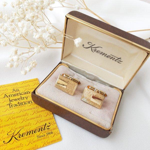 Винтажные запонки «Золотая классика» от Krementz Купить бижутерию