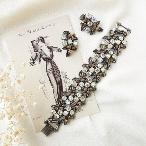 Винтажный браслет и клипсы «Северное сияние» от Florenza Купить винтаж