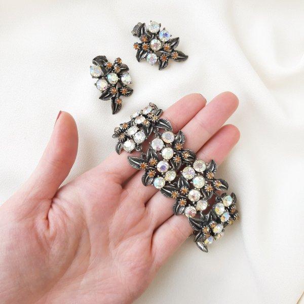 Винтажный браслет и клипсы «Северное сияние» от Florenza Купить антиквариат