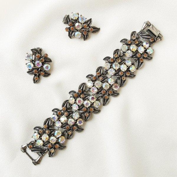 Винтажный браслет и клипсы «Северное сияние» от Florenza Купить
