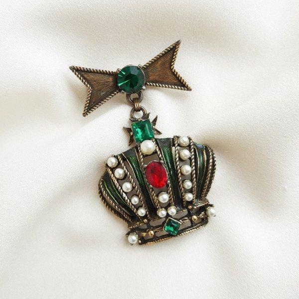 Коллекционная винтажная брошь «Корона» от Weiss Старинные украшения