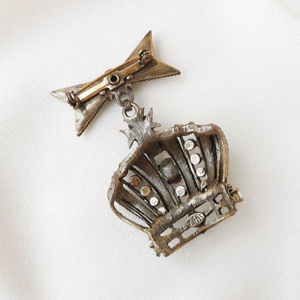 Коллекционная винтажная брошь «Корона» от Weiss Купить бижутерию