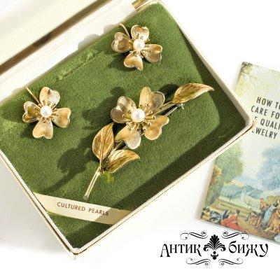 Винтажный коллекционный комплект «Цветы кизила» от Krementz