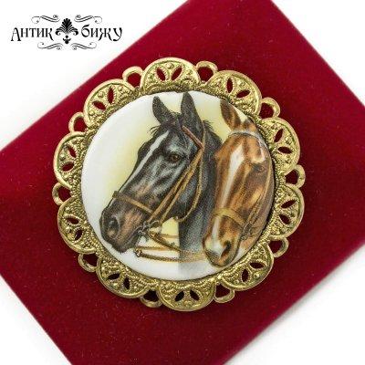 Винтажная брошь «Лошади» от W.Germany