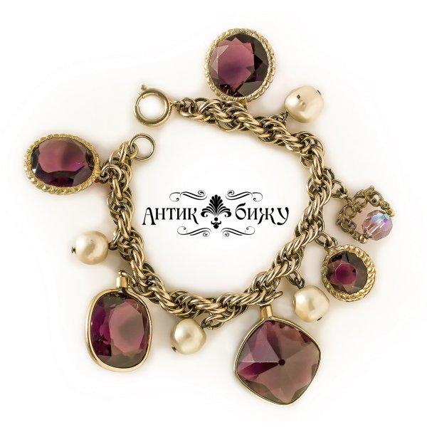 Стильный винтажный браслет с подвесками «Аметист» от Accessocraft для любителей старины и антиквариата