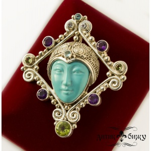 Винтажная брошь - кулон от Sajen «Лик богини»