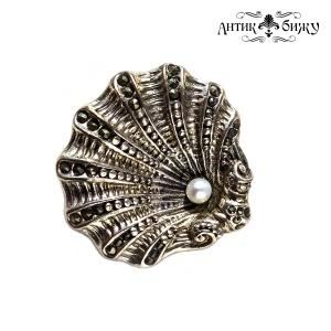 Винтажная серебряная брошь «Жемчужина» от MFA