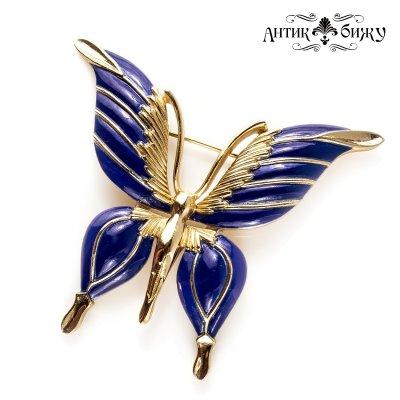 Винтажная коллекционная брошь «Синяя бабочка» от дома Trifari