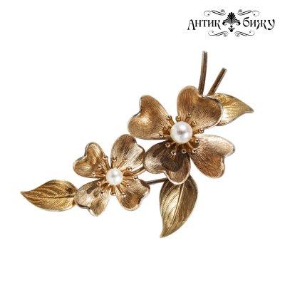 Винтажная брошь «Цветы кизила» от Krementz