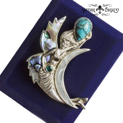 Сказочная витнажная брошь - кулон «Русалка» от Sajen