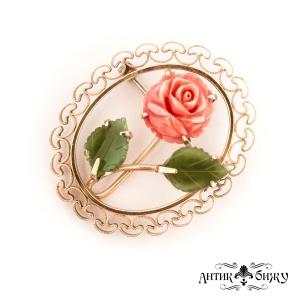 Винтажная брошь «Коралловая роза» от Krementz